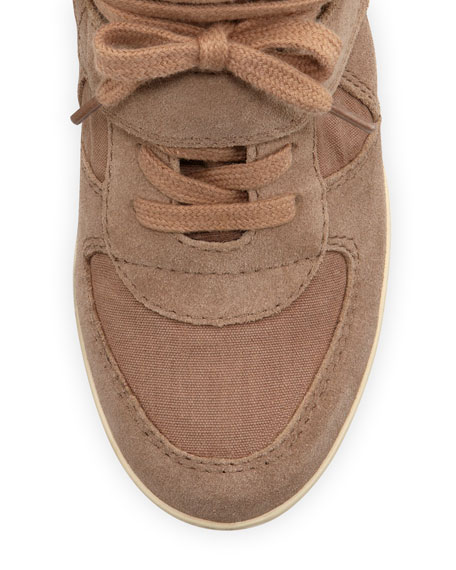 Bowie Suede and Canvas Wedge Sneaker, Chamois