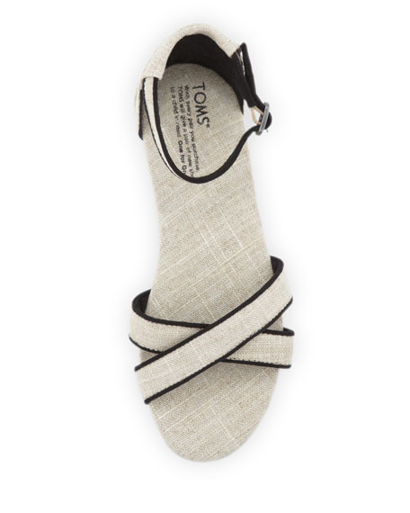 TOMS Correa Crisscross Ankle Sandal, Natural/Black
