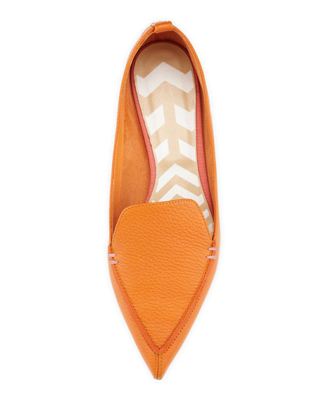 Pebbled Pointed-Toe Loafer, Orange