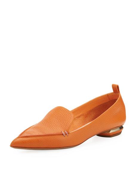 Pebbled Pointed-Toe Loafer, Orange