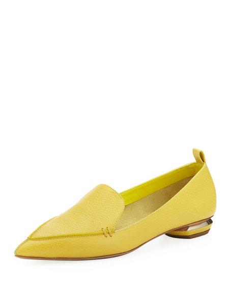 Pebbled Pointed-Toe Loafer, Yellow