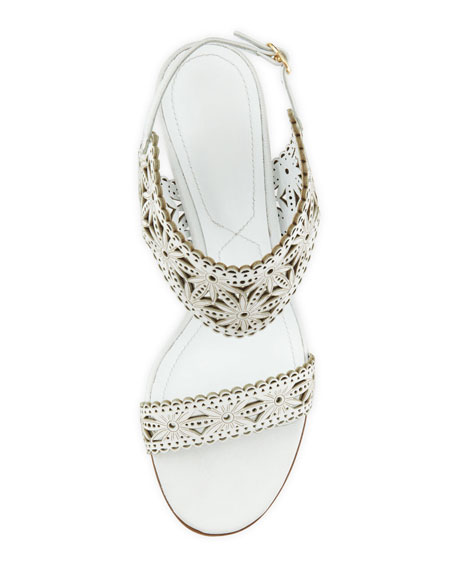 Low-Heel Laser-Cut Leather Sandal, White