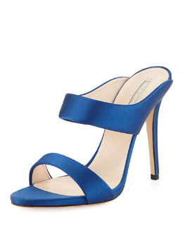 Giorgio Armani Satin Double-Band Slide, Blue