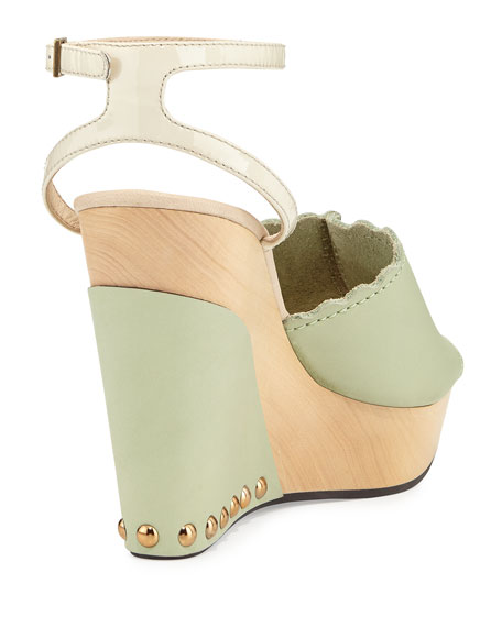 Ankle-Strap Wedge Sandal, Mint/Taupe