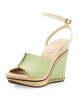 See by Chloe Ankle-Strap Wedge Sandal, Mint/Taupe