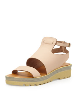 See by Chloe Leather Chunky-Sole Sandal, Nude
