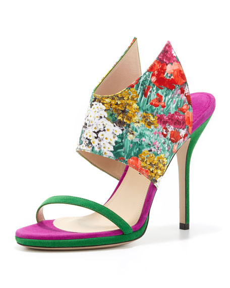 Floral-Print Silk and Suede Wing Sandal