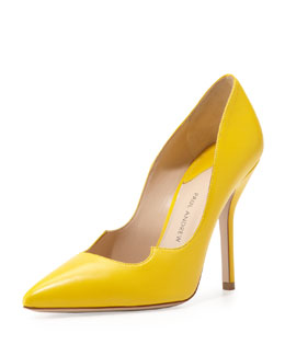 Paul Andrew Leather Peaked-Vamp Pointed-Toe Pump, Yellow