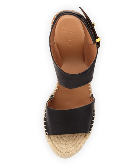 Palo Leather Espadrille Wedge, Black