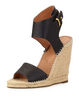Joie Palo Leather Espadrille Wedge, Black
