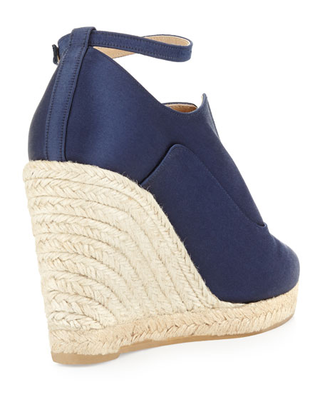 Satin Ankle-Wrap Espadrille Wedge