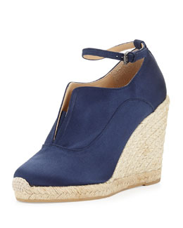 Reed Krakoff Satin Ankle-Wrap Espadrille Wedge