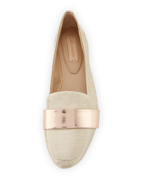 Glittery Canvas Loafer with Mirrored Leather Band, Rose Gold