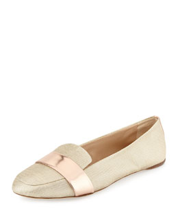 Reed Krakoff Glittery Canvas Loafer with Mirrored Leather Band, Rose Gold