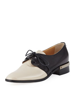 Reed Krakoff Bicolor Lace-Up Oxford, Nude/Black