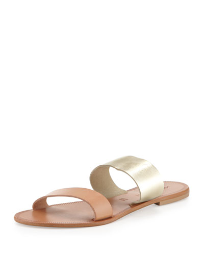 Sable Banded Flat Sandal, Gunmetal/Natural