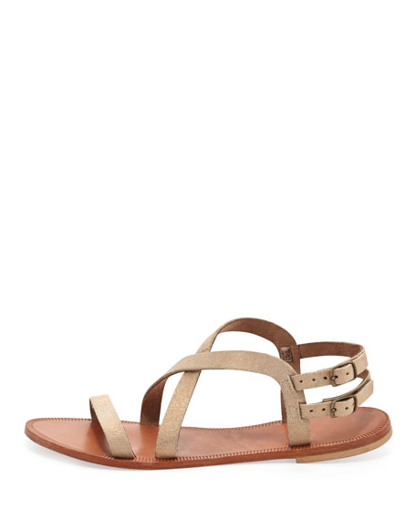 Socoa Strappy Leather Sandal, Rose Gold