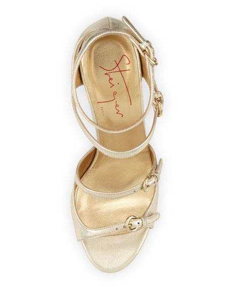 Metallic Strappy Sandal, Platinum