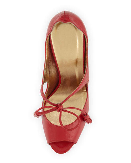 Mary Jane Platform Sandal with Tie