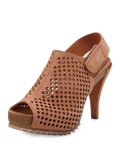 Natasha Perforated Suede Bootie, Tan