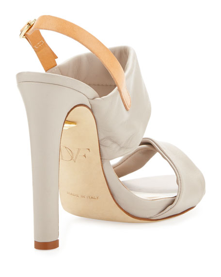 Jacey Leather Slingback Sandal, Light Taupe