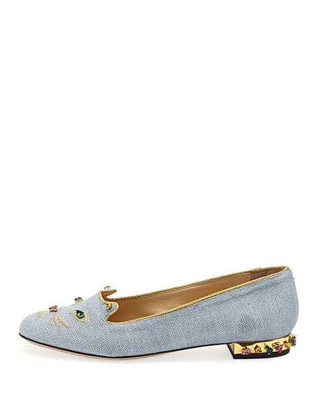 Charlotte Olympia Bejeweled Kitty Cat Slipper, Tempest Blue