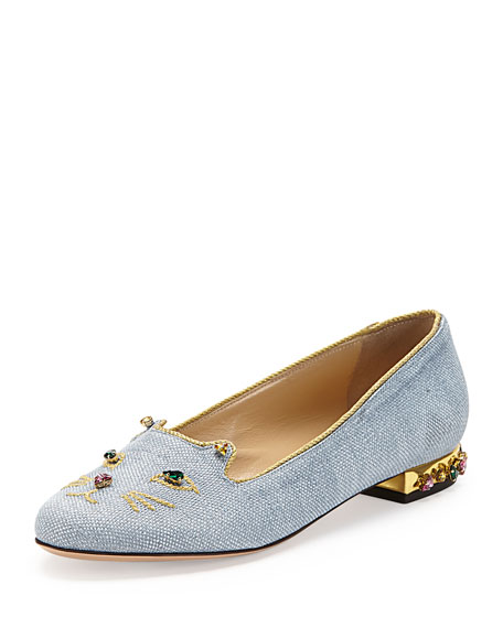 Bejeweled Kitty Cat Slipper, Tempest Blue