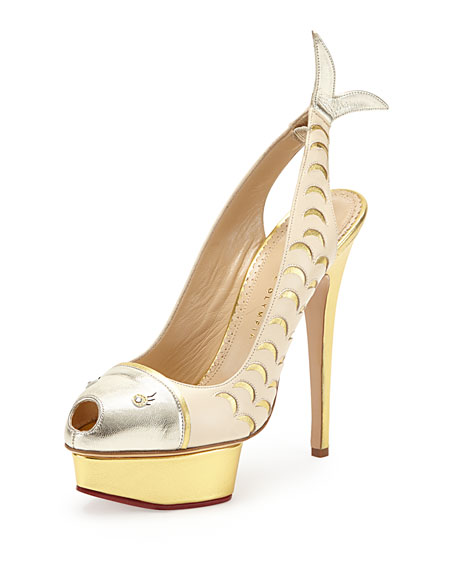 Catch of the Day Platform Pump, White/Platinum/Gold