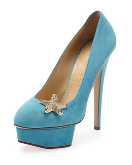 Charlotte Olympia Seaside Dolly Sue Starfish Pump, Teal
