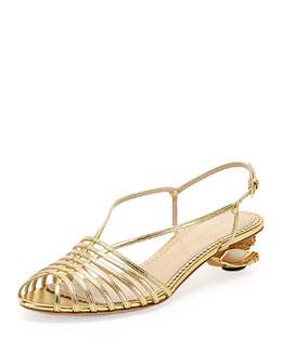 Charlotte Olympia Shelly Seashell-Heel Sandal, Gold