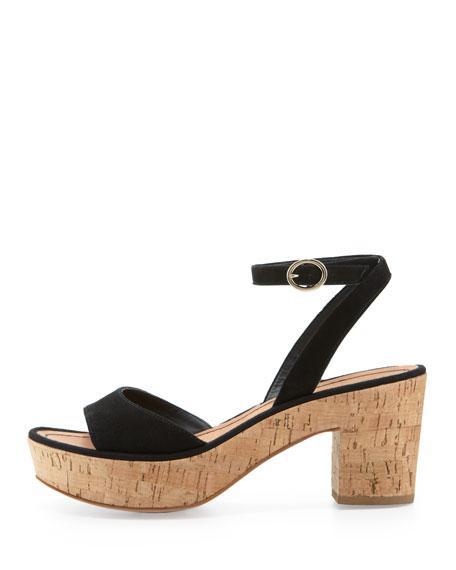 Odelia Suede Platform Sandal, Black
