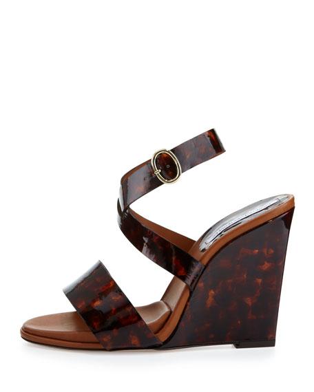 Wilma Patent Wedge Sandal, Tortoise
