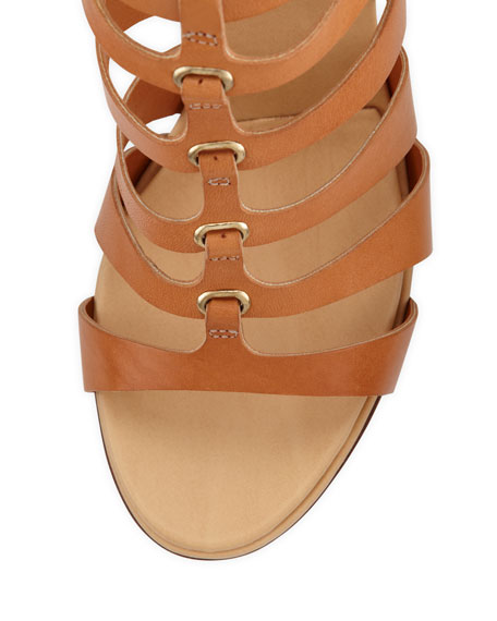 Wave Leather Wedge Sandal, Natural