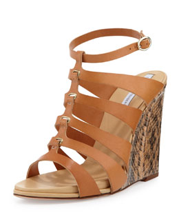 Diane von Furstenberg Wave Leather Wedge Sandal, Natural