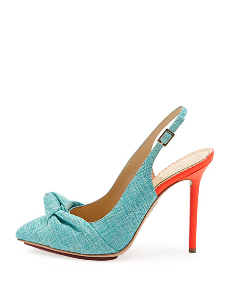 Ava Canvas Slingback Pump, Turquoise