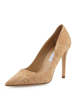 Diane von Furstenberg Bethany Cork Point-Toe Pump, Natural