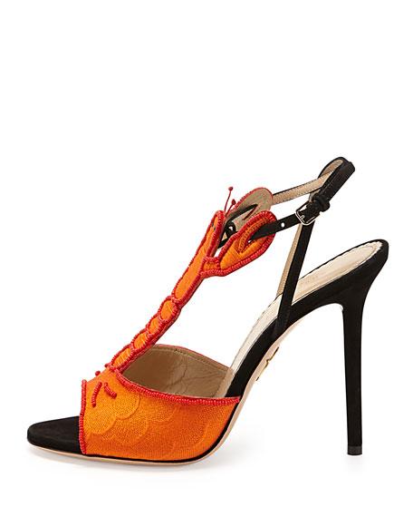 Charlotte Olympia Elsa Lobster T-Strap Sandal, Coral/Black