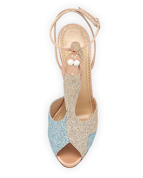 Siren Mermaid T-Strap Sandal, Blue/Green