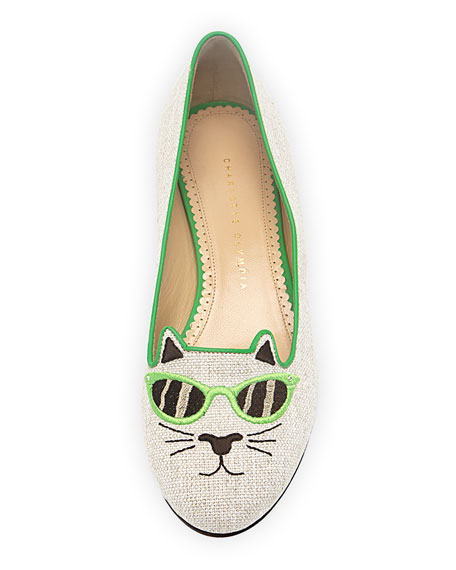 Sunkissed Kitty Canvas Flat, Green