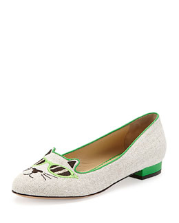 Charlotte Olympia Sunkissed Kitty Canvas Flat, Green