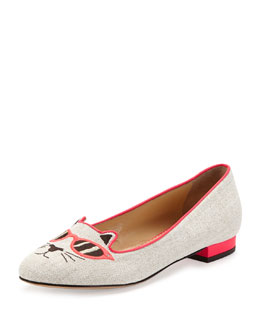 Charlotte Olympia Sunkissed Kitty Canvas Flat, Pink