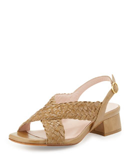 Taryn Rose Orla Woven Leather Sandal, Vachetta