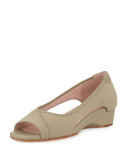 Taryn Rose Katy Peep-Toe Stretch Wedge, Natural