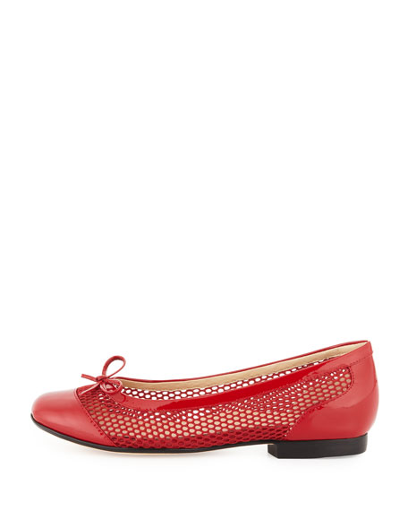Blanche Cap-Toe Net Ballerina Flat, Red