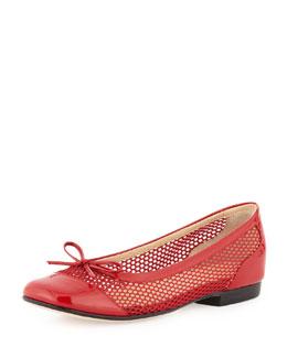 Taryn Rose Blanche Cap-Toe Net Ballerina Flat, Red