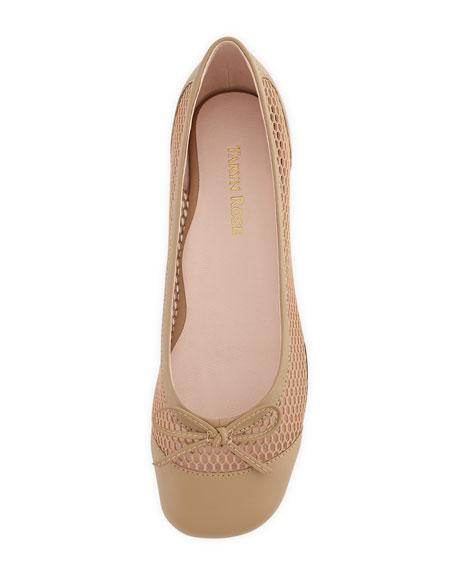 Blanche Cap-Toe Net Ballerina Flat, Beige