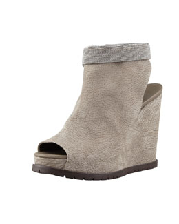 Brunello Cucinelli Nubuck Beaded-Ankle Wedge, Gray
