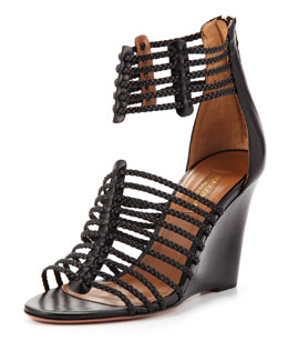 Aquazzura Venus Strappy Wedge Sandal, Black