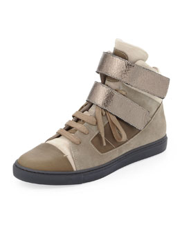 Brunello Cucinelli Suede High-Top Sneaker, Taupe/Gunmetal