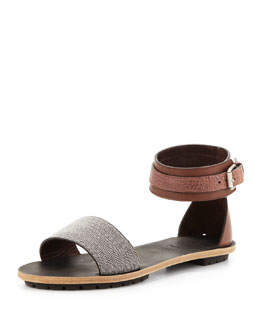 Brunello Cucinelli Beaded Ankle-Wrap Sandal, Brown